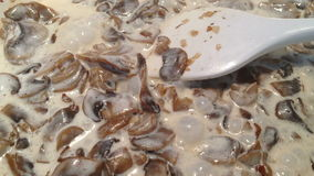 Stewing mushroom sauce stock footage
