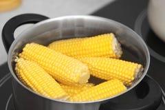 Stewpot con las mazorcas del agua y de maíz en estufa fotos de archivo