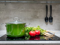 Stewpot with vegetables on induction cooker Stock Images