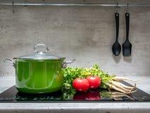 Stewpot z warzywami na indukci kuchence Obrazy Stock