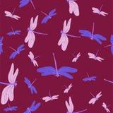 Stexture dos seamles de Borgonha com libélulas Teste padr?o do vetor ilustração do vetor