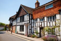 Old Tudor style timber-framed slate roof english house in Steyni Royalty Free Stock Photography