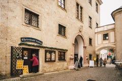 Steyr, Österreich - Dezember 2017: Eingang zur Weihnachtspost O lizenzfreies stockbild