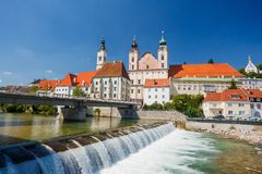 Steyr, Austria. Steyr and Enns rivers stock images