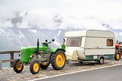 Steyr Diesel. TYROL, AUSTRIA - JULY 29, 2014: Old agricultural tractor Steyr Diesel at the Grossglockner High Alpine Road Royalty Free Stock Images