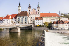 Steyr panorama with St. Michael& x27;s Church Royalty Free Stock Photos