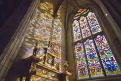 StGiles cathedral. Historic Cathedral,stained glass windows stock photo