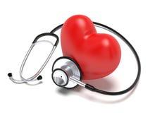 Sthetoscope e cuore Fotografie Stock