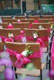 Stühle und Blumen Stockfotografie