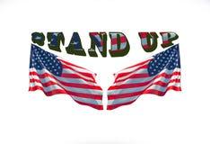 Stia su con due bandiere degli S.U.A. immagini stock