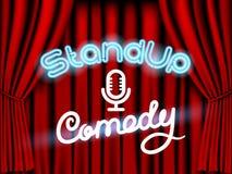 Stia sulla tenda di rosso della commedia Immagini Stock