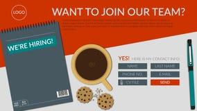 Stiamo assumendo l'unire la nostra insegna della pagina di atterraggio del gruppo royalty illustrazione gratis