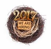 Stiamo assumendo nel 2017 sul nido Fotografie Stock