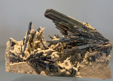 Stibnite and Calcite sample on display Stock Images