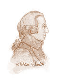 Stich-Art-Skizze-Porträt Adams Smith Lizenzfreie Stockfotografie