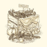 Stich-Birnen-Zwiebel, reife Kürbise und Holzkiste mit Mais lizenzfreies stockbild