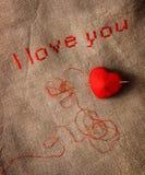 Stich en travers «je t'aime» Photographie stock