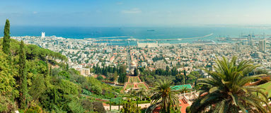 Stiched panorama of the beautiful Bahai gardens. In Israel Stock Images