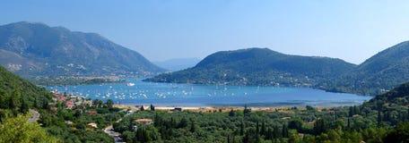 Harbor Panorama in Nidri Lefkada. A stiched panorama shot of Nidri Town in Lefkada, Greece Royalty Free Stock Photo
