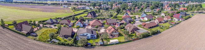 Stiched panorama of a small village near Gifhorn, Germany. Aerial view Royalty Free Stock Photos