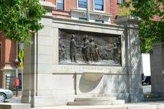 Stichtersgedenkteken op Gemeenschappelijk in Boston, de V.S. Stock Afbeelding