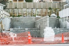 Stichting voor de bouw die van een privé huis, Nieuw Zeeland inbouwen Stock Foto's