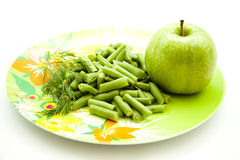 Stick beans with apple and dill Royalty Free Stock Image