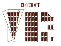 Stick of chocolate, stick of dark chocolate. Whole, bited, pieces, unfolded. Vector illustration on white background. for wallpapers, web, icon, surface Stock Images