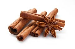 Stick cinnamon and star anise Stock Photography
