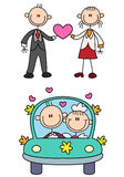Stick couple love story vector illustration