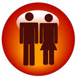 Stick couple web button Stock Images