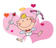 Stick Cupid With Bow And Arrow Flying With Hearts Royalty Free Stock Photo
