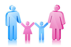 Stick Family Daughter Son Father Mother Stock Image