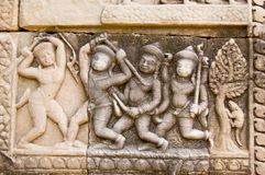 Stick Fighting Frieze, Cambodia Stock Images