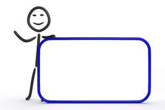 Stick figure. With blank sign Stock Photography
