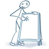 Stick figure with advertising stand Stock Photo