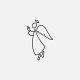 Stick figure angel icon and wings. Vector Stock Photos