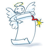 Stick figure angel with paper roll. And christmas time Stock Image