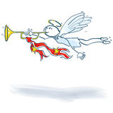 Stick Figure angel with a trumpet. And Christmas music Royalty Free Stock Photo