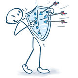 Stick figure with arrows and shield. And protection Royalty Free Stock Image