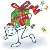 Stick Figure As A Santa Claus With A Gift Package Royalty Free Stock Photo