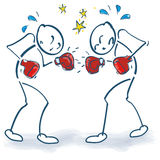 Stick figure as boxer and boxing. Stick figure as boxer in a fight Stock Images
