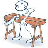 Stick figure as a craftsman sawing a thick board. Stick figure as a craftsman sawing a thick brown board Royalty Free Stock Photography