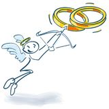 Stick figure as cupid with arrow and bow and wedding rings. Stick figure as a cupid with arrow and bow and wedding rings Stock Photos