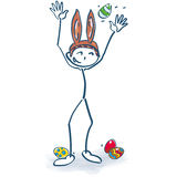 Stick figure as easter bunny and easter hat. Stick figure as easter bunny and nice easter hat Stock Photos