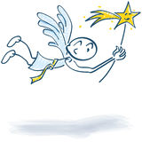 Stick figure as a flying angel with a star. Stick figure as a flying angel with a little star Stock Image