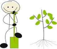 Stick figure as a gardener. Stick figure with a spade as a gardener Stock Photos