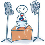 Stick figure as a newscaster. And television royalty free stock image