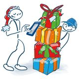 Stick figure as Nickolas orders packages online with the tablet royalty free illustration