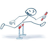 Stick figure as relay runners Royalty Free Stock Images